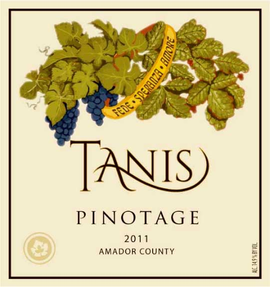 Wine label of Tanis Vineyards Winery.  Poison oak on one side is transformed into a fruitful vineyard. The ring symbolizes Faith, Hope, and Love.